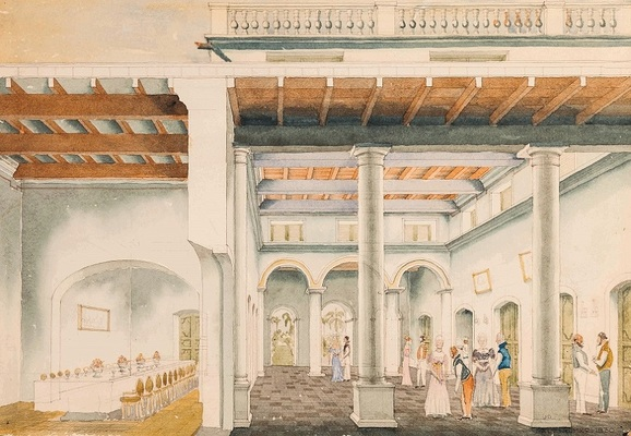 Image 1: Guests arriving in the grand hall of the governor's residence where the table is set for dinner, c. 1835. The painting is aquarelle on paper, by Jens Damborg, 1985 (private collection). From the National Museum Collection, Denmark. Photograph Credit: Jens Damborg. Image Courtesy of the artist and Esther Fihl. http://press.uchicago.edu/ucp/books/book/distributed/G/bo26482730.html.