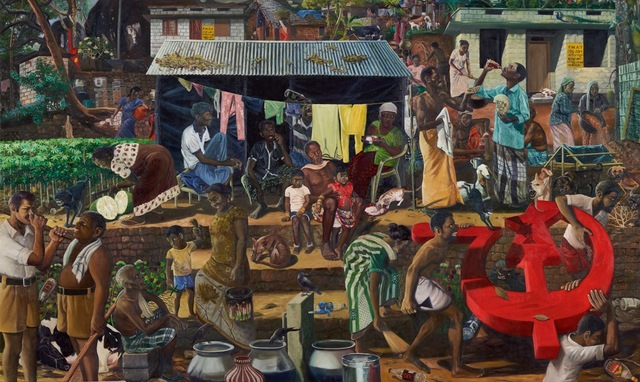 Ratheesh T, Allotted Land, Oil on canvas, 182 cm x 306 cm, 2018. Image Courtesy of of Galerie Mirchandani + Steinruecke. ©Ratheesh T.