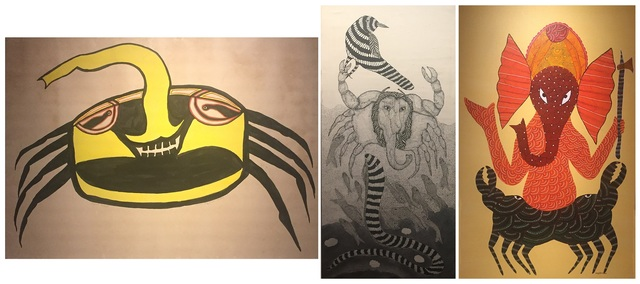 The evolution of Jangarh's 'elephant-crab' in paint (left & right) and ink (centre)