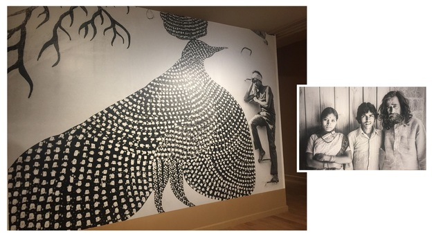 A blown-up picture of Jangarh at the show (left) and with wife Nankusia and J. Swaminathan (inset)
