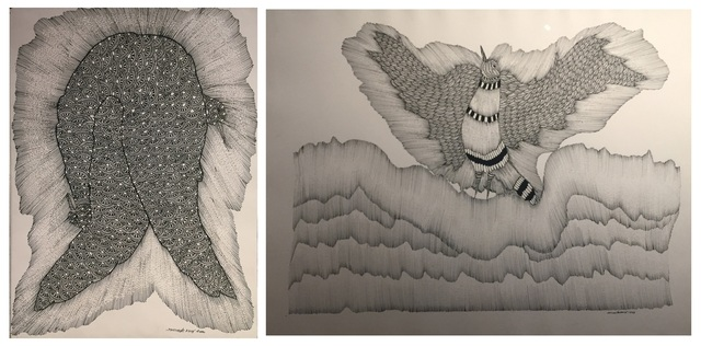 Jangarh's ink on paper works 'Birds in Copulation' (left) and the crow from a Gond creation myth (right)