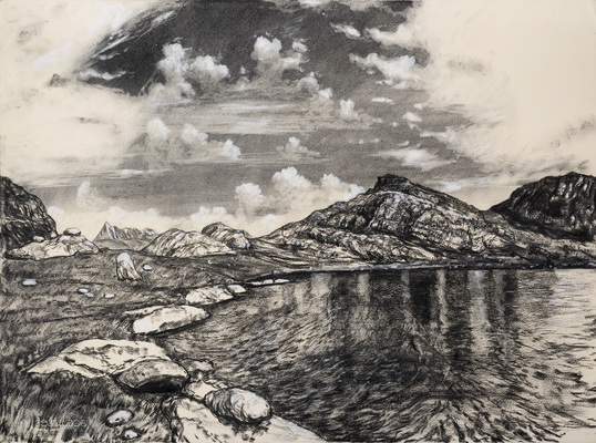 Nikhil Chopra, Lands, Waters and Skies: Sundersar, Charcoal on paper, 22.25'' x 29.75'', 2018. Image Courtesy of the artist and Chatterjee & Lal, Mumbai.
