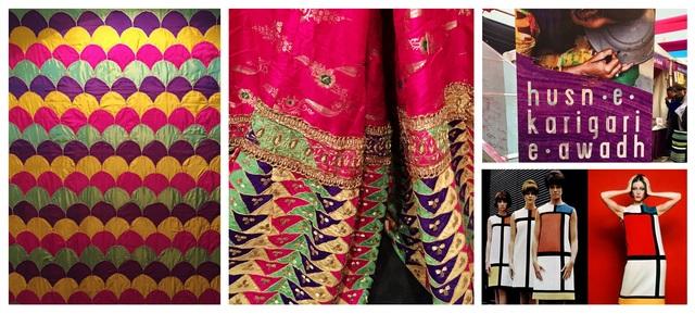 'Tukde ka kaam' as a shown in the 'Husn-e-Kaarigari-e-Awadh' show (left) and YSL dresses inspired by Pete Mondrian paintings