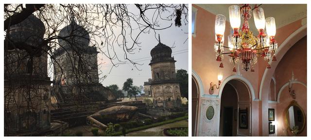 The giant frog at 'Frog Temple' in Oel (left) and a 'jhaad-phanoos' inside Muzaffar Ali's Kotwara estate