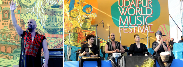 Igal Gulaza Mizrahi (left) and his feminist 'Gulaza' band from Israel (right)