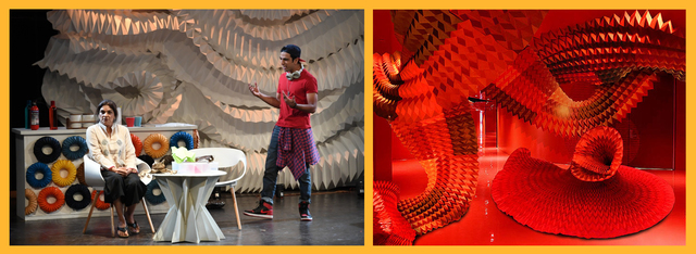 Suresh, the origami genius, challenges Naina on her practice (left) and an origami original piece by Ankon Mitra (right)