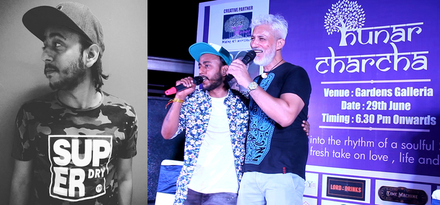 ABHI Urf Rapper Wolf in a poster and on 'Hunar Charcha' with Dhiraj Singh (right)