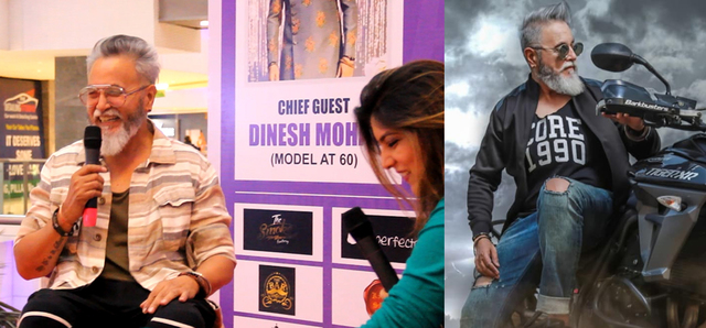 Dinesh Mohan, the senior model, on 'Hunar Charcha' with Sahar Zaman and in a print ad (right)