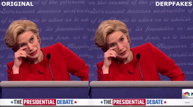 Kate McKinnon (left) and her deepfake Hillary Clinton (right)
