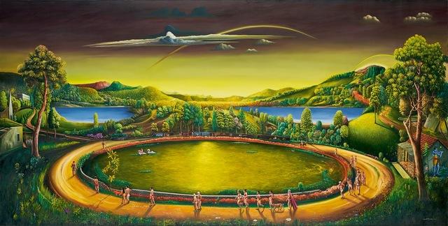 Vinod Balak, The Circumambulation, 2019, oil on canvas, 121.9 x 243.8 cm / 48 x 96 in