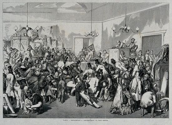 People viewing items at an art auction. Wood engraving by H. Linton, ca. 1899.
