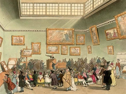 Christie's auction room in London as drawn by Thomas Rowlandson and Augustus Pugin for Ackermann's Microcosm of London' (1808-11).