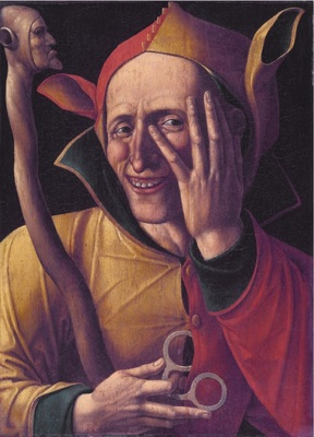 : Anonymous, The Laughing Jester, 15th Century, Netherlands. Art museum of Sweden, Stockholm