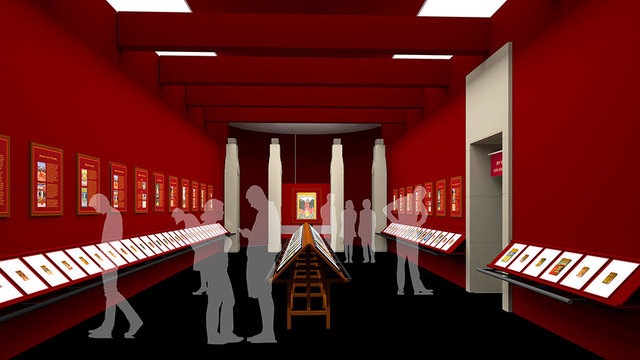 The visualisation of the Miniature Paintings Gallery at the re-planned Jodhpur Government Museum that we are working on at my Studio. For Government of Rajasthan.