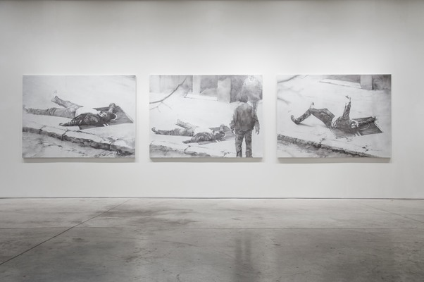 Trois poses de Fadhel Sassi, Nidhal Chamekh, 2016, Charcoal and burned bread, 182 cm x 250 cm x 3 cm. Image Courtesy of the Artist.
