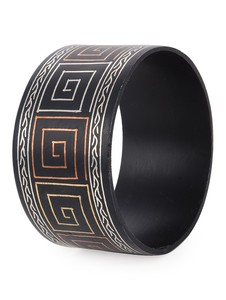 Broad Bangle with Copper Brass and Silver Inlay Bangle By Bidriwala
