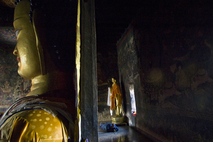 Monk Praying In Shey Monastery-Ladakh by Ramona Singh, Painting, Digital Print on Paper, Gray color