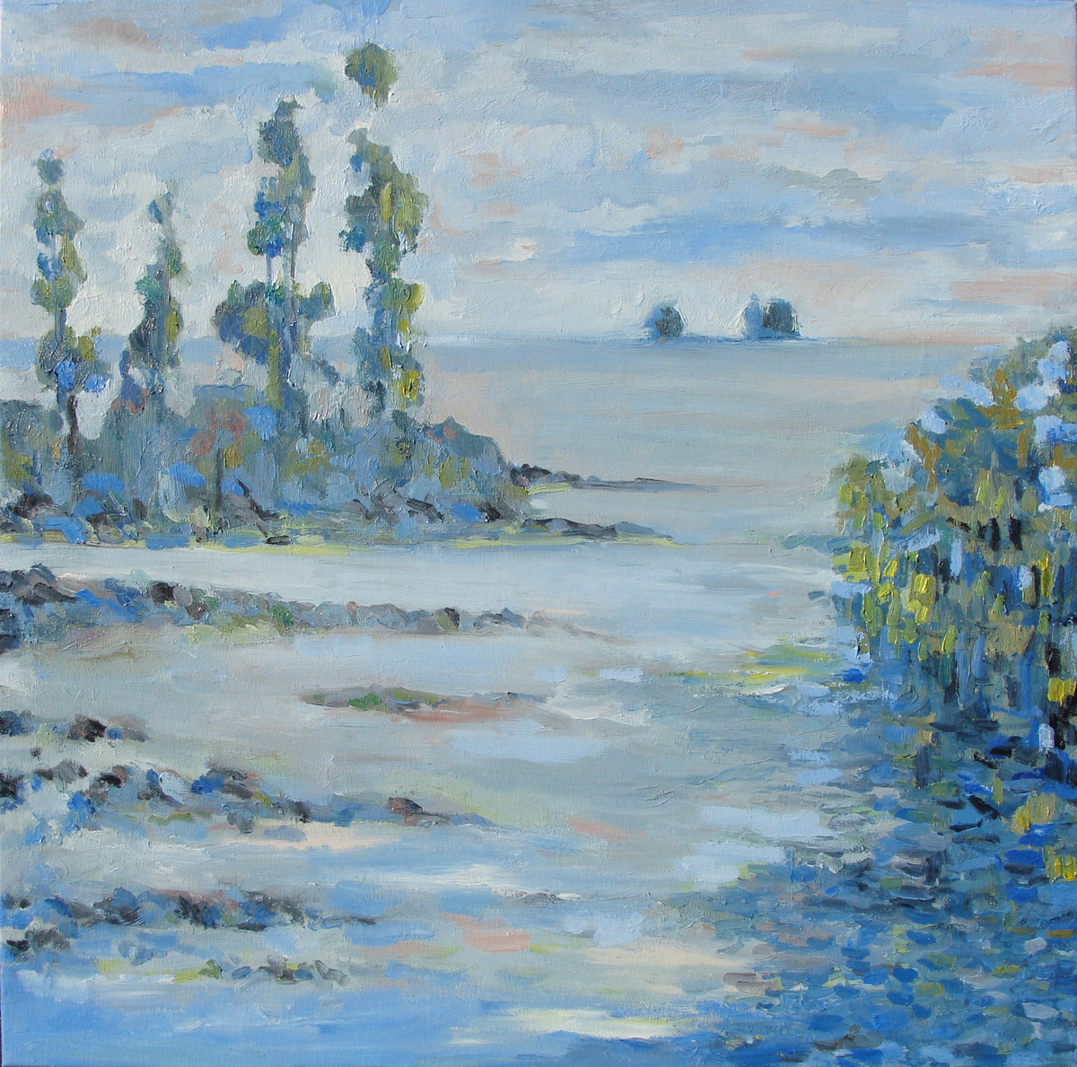 Waterscape Digital Print by Animesh Roy,Impressionism