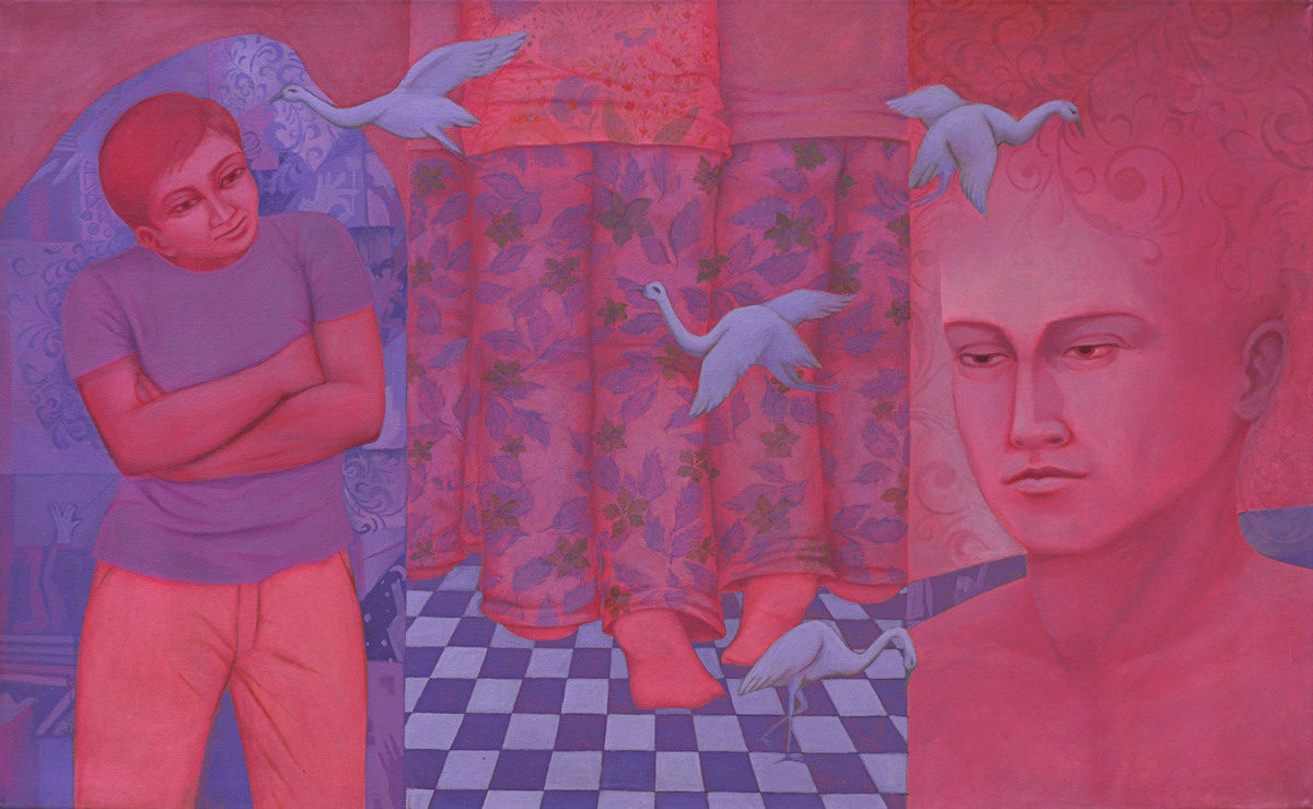 Reformation of Human Nature 02 by Partha Mondal, Surrealism Painting, Oil & Acrylic on Canvas, Purple color