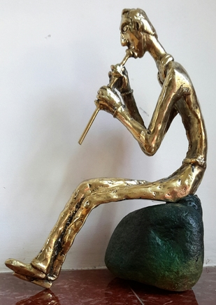 The Solitary Flutist by Usha Ramachandran, Art Deco Sculpture | 3D, Bronze, White color