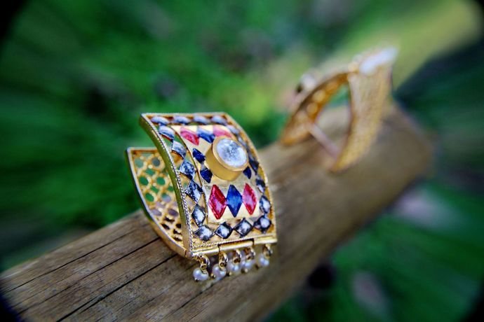 Born for 'Bold & Enamel' by Tanvi Garg, Art Jewellery, Traditional Earring