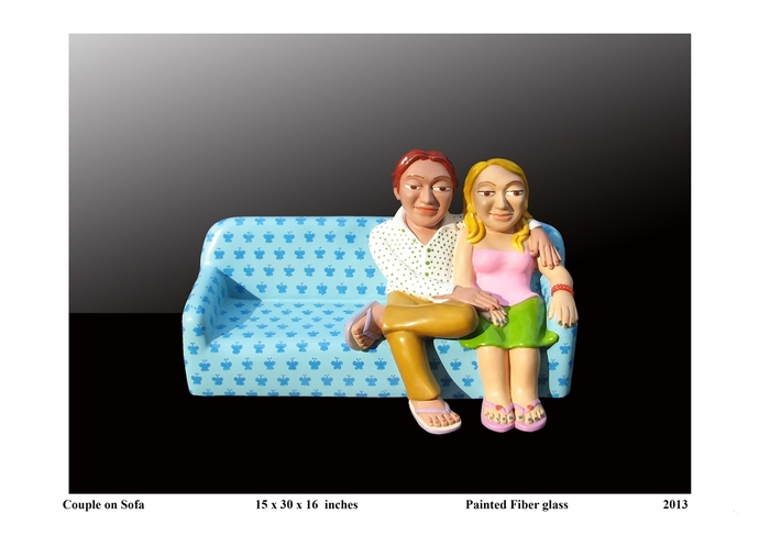 Couple On Sofa by Loknath Sinha, Pop Art Sculpture | 3D, Fiber Glass, Gray color