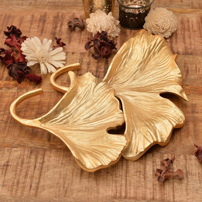 Golden Ginkgo Double Leaf Platter Platter By The Yellow Door