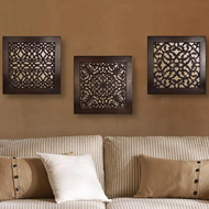 BROWN SQUARE WALL ART: SET OF 3 Wall Decor By The Yellow Door