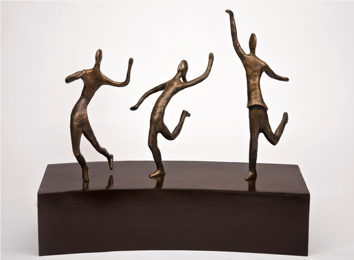 Joyful Dance by Manjari Goenka, Art Deco Sculpture | 3D, Bronze, Gray color