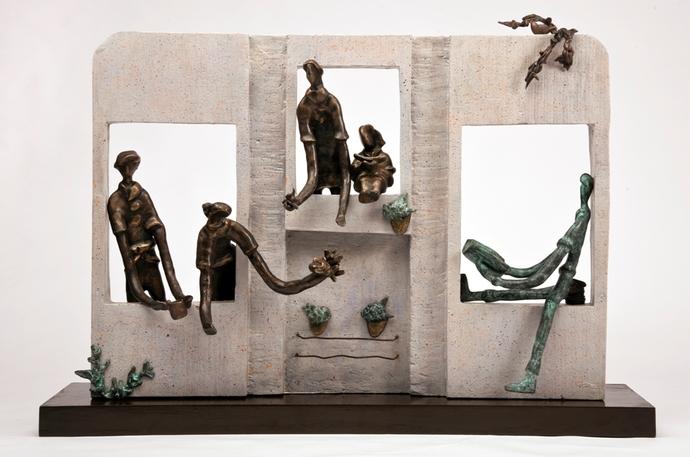 Windows To Joy by Manjari Goenka, Art Deco Sculpture | 3D, Bronze, Gray color
