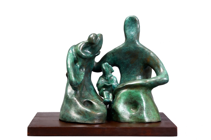 Family Moments 2 by Manjari Goenka, Art Deco Sculpture | 3D, Bronze, White color