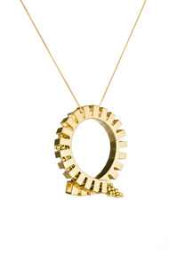 Flora Loop 2-Golden by Studio Kassa, Art Jewellery, Contemporary Pendant