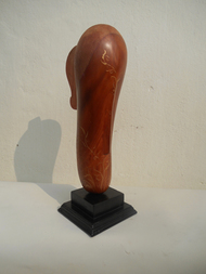 She at 21 by Jayanta Bhattacharya, Art Deco Sculpture, Wood, Beige color