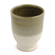 Hand Made - Groove Goblet - Ivory and Olive Green Serveware By Studio Asao