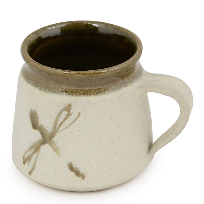 Hand Made Barni Mug - Ivory and Olive Green Serveware By Studio Asao