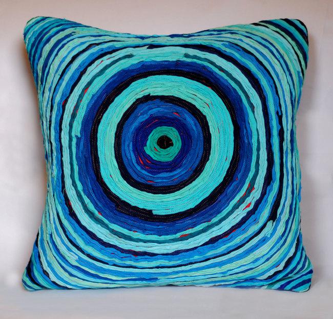 Chakri   blue     cushion cover  18 x 18  2