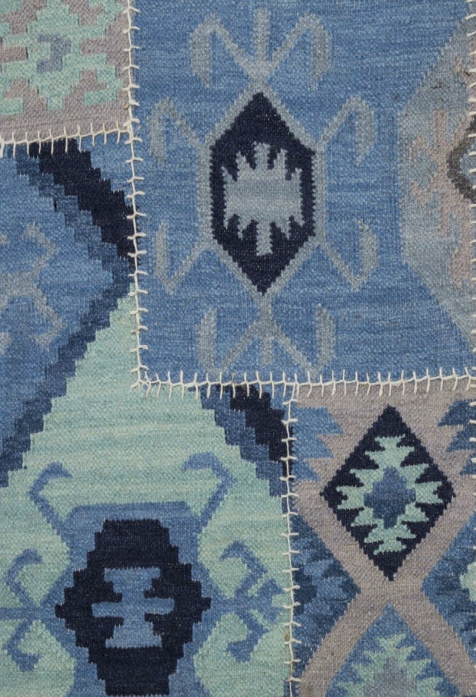 Imperial Knots Blue Patchwork Handwoven Kilim Carpet and Rug By Imperial Knots