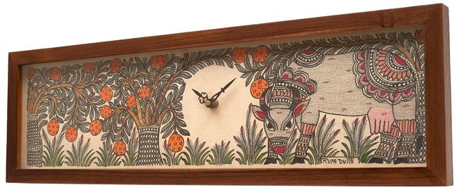 Madhubani wall clock rect cow   teak 2