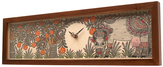 Madhubani Wall Clock - Rectangular White Cow Wall Decor By Crafel