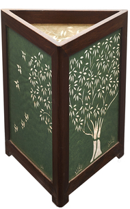 Sanjhi Story Lamp in Teakwood - Tree of Life - Green Table Lamp By Crafel