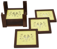 Sanjhi Coasters in Teakwood - Parrot Neon Green Table Ware By Crafel