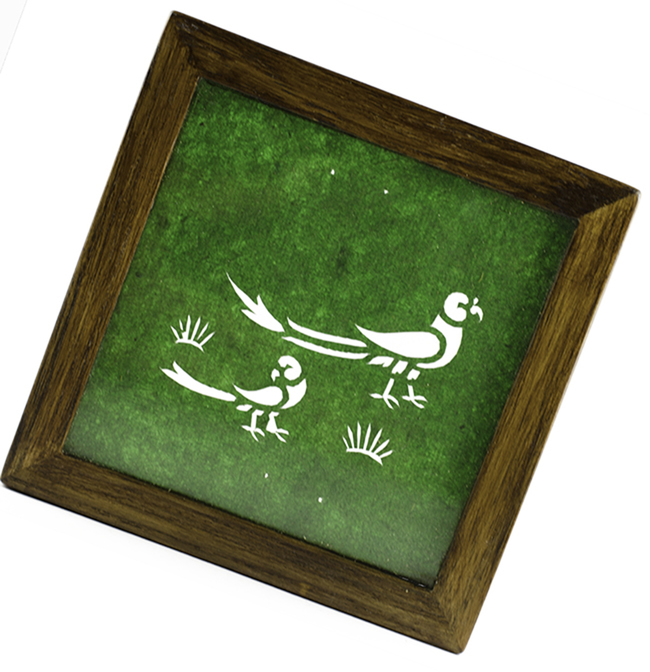 3 wooden coasters sanjhi teak parrot emrald green