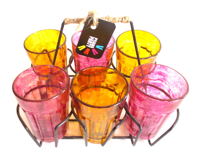 Quirky kitsch cutting chai set- Pink and Yellow textured Serveware By Pyjama Party Studio