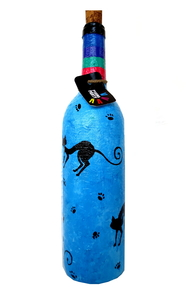 Recycle. Reuse. Rehydrate- Hand-painted bottle Purr Decorative Container By Pyjama Party Studio