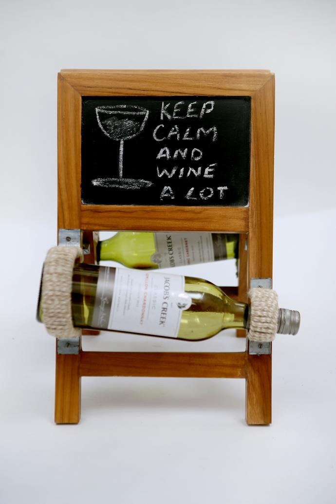 Ladder Wineholder (Teak) Table Ware By Desi Jugaad
