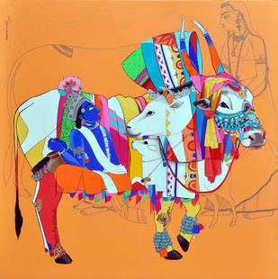 Radha krishna Digital Print by Mohammed Osman,Realism