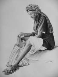 An old man by Mohammed Osman, Impressionism Painting, Watercolor on Paper,