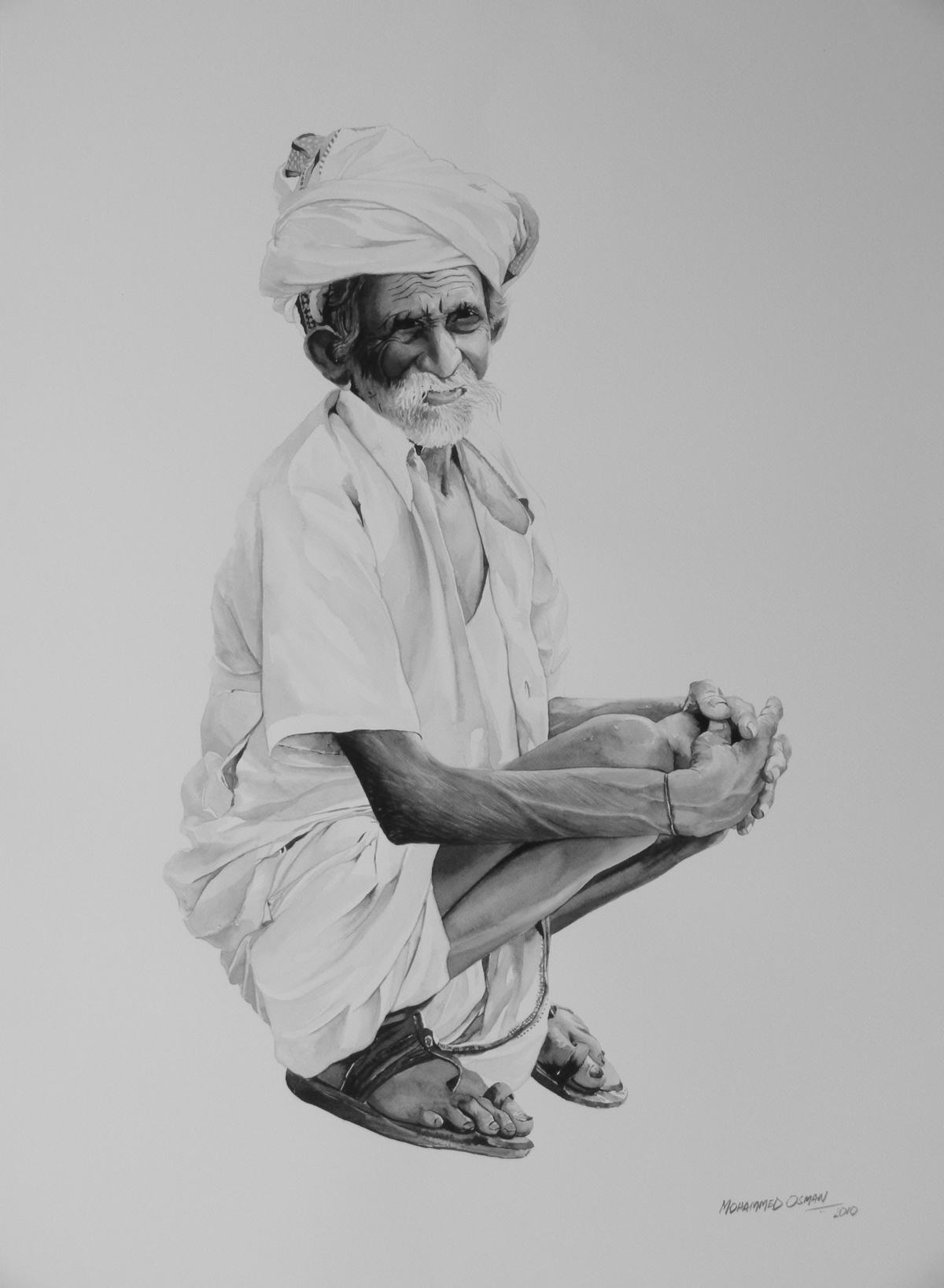 An old man Digital Print by Mohammed Osman,Impressionism