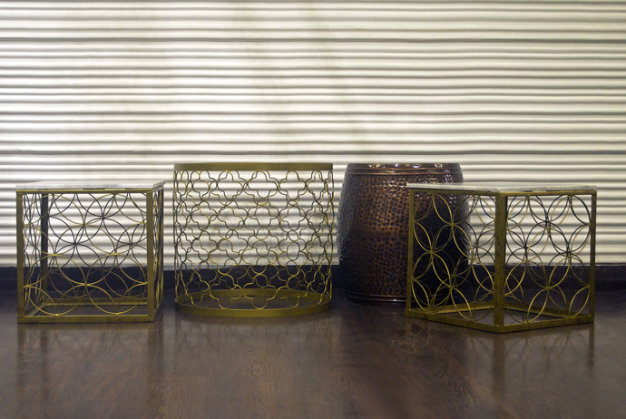 Circular Patterned Table (Glass Top) Furniture By Cellar Door