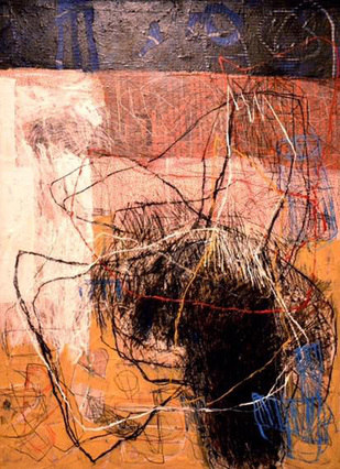 untitled 4 by Abijit Pathak, Abstract Painting, Mixed Media on Canvas, Brown color